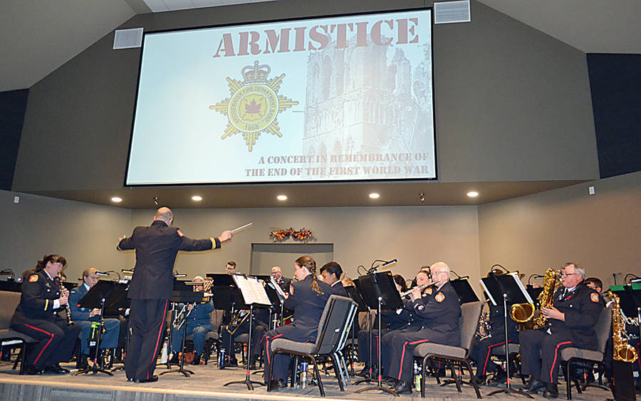 <p>GAYLE WILSON PHOTOS</p><p>Captain Wendell Eisener conducts the Bridgewater Fire Department Band in an Armistice concert in honour of the 100th anniversary of the ending of WW1, which coupled as a celebration of the band&#8217;s 150th anniversary.</p>