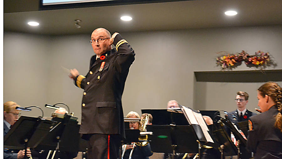 <p>GAYLE WILSON PHOTO</p><p>Wendell Eisener, the Bridgewater Fire Department Band&#8217;s conductor and musical director, chides members of the audience that they weren&#8217;t clapping loudly enough with the beat.</p>
