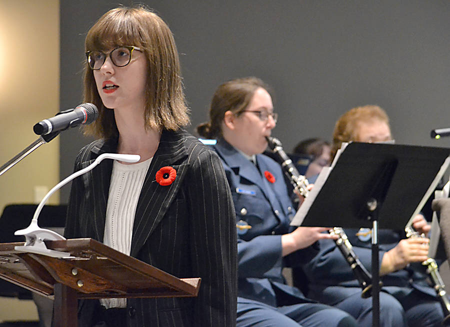 <p>GAYLE WILSON PHOTO</p><p>Cassandra Oakes sang <em>In Flanders Fields.</em></p>