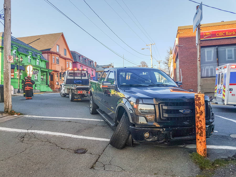 <p>Alex Pearson, photo</p><p>The truck came to a half after causing wide-spread damage in downtown Lunenburg.</p>