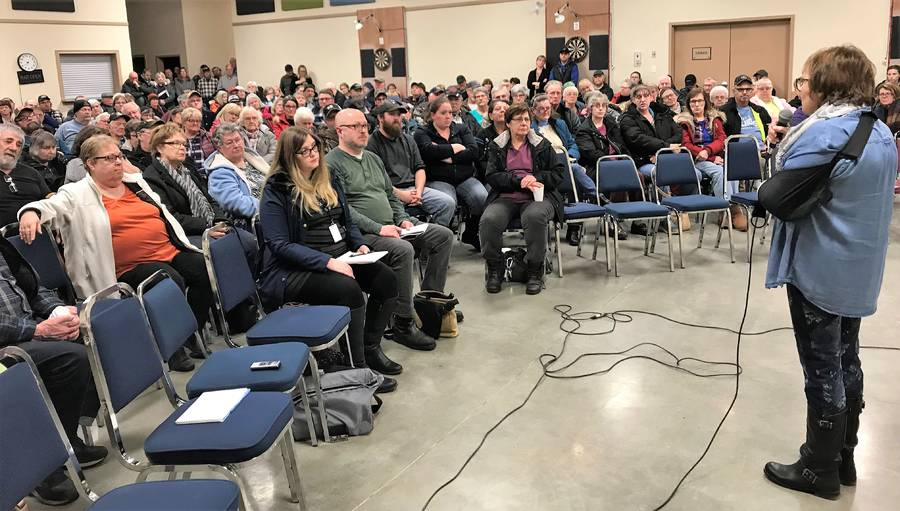 <p>KEVIN MCBAIN PHOTO</p><p>Laura Lee Johnson, president of the North Queens Board of Trade, addresses a crowd of about 170 people on the evening of January 7 at the North Queens Fire Hall. The community meeting was called by the Board of Trade to discuss ideas on how to move forward after the loss of Caledonia&#8217;s gas station just over a month ago.</p>
