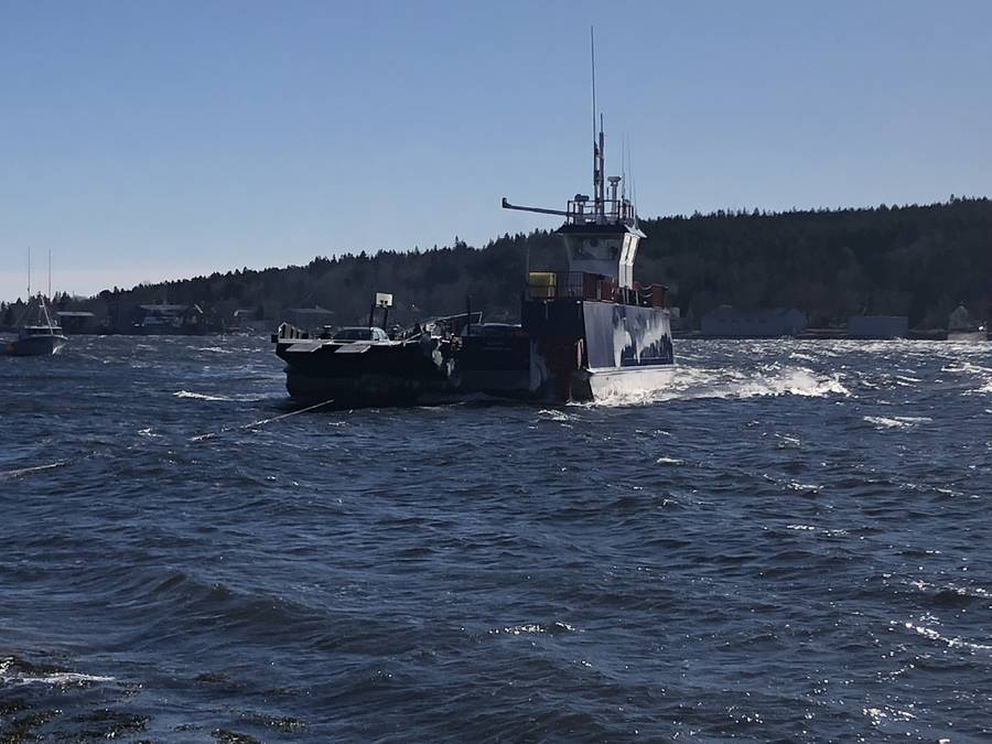 <p>David Sorcher, photo</p><p>The LaHave Ferry stuck off-shore in choppy waters on February 11.</p>