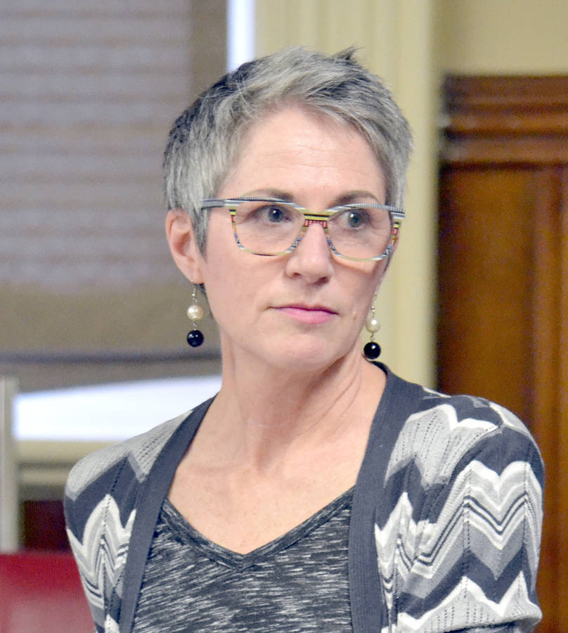 <p>KEITH CORCORAN, PHOTO</p><p>Teresa Quilty of Plastic Free Lunenburg listens to a comment from the gallery during a February 26 meeting of Lunenburg Town Council.</p>