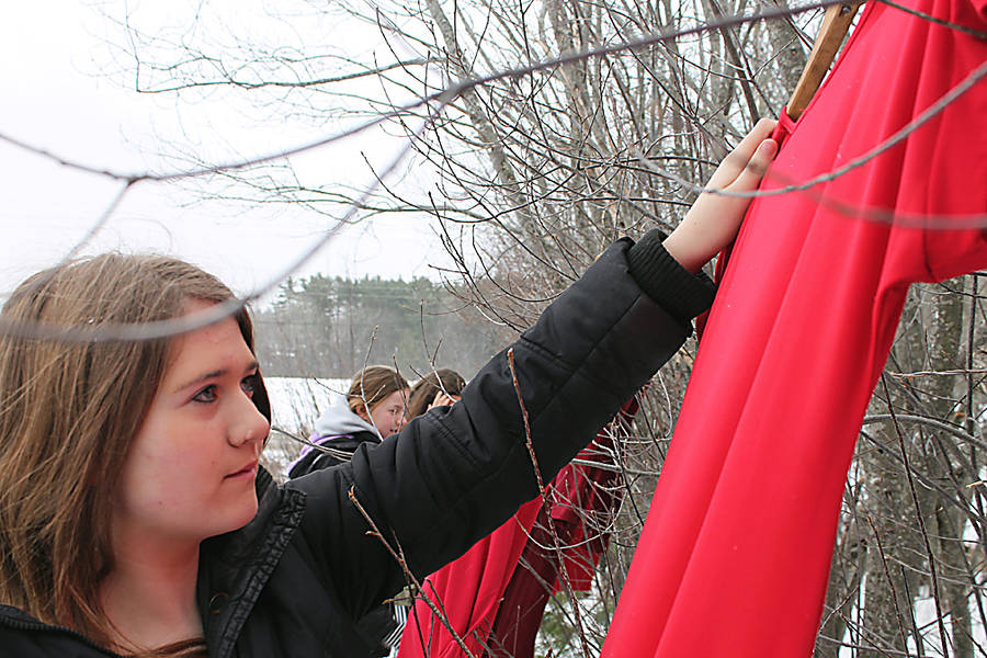 <p>CONTRIBUTED PHOTO</p><p>Dallas Weare, a student at North Queens Community School, hangs one of the props for the school's Red Dress event, planned in recognition of International Women's Week March 4 to 8.</p>