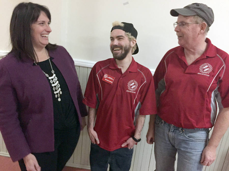 <p>KEITH CORCORAN, PHOTO</p><p>Double-lung transplant recipient Nick Evans, centre, with Bridgewater and Area Kinsmen Club colleague Tim Coleman, chat with Lisa Weatherhead, Cystic Fibrosis Canada's regional executive director. Evans has cystic fibrosis, the most common fatal genetic disease impacting Canadian children and young adults.</p>