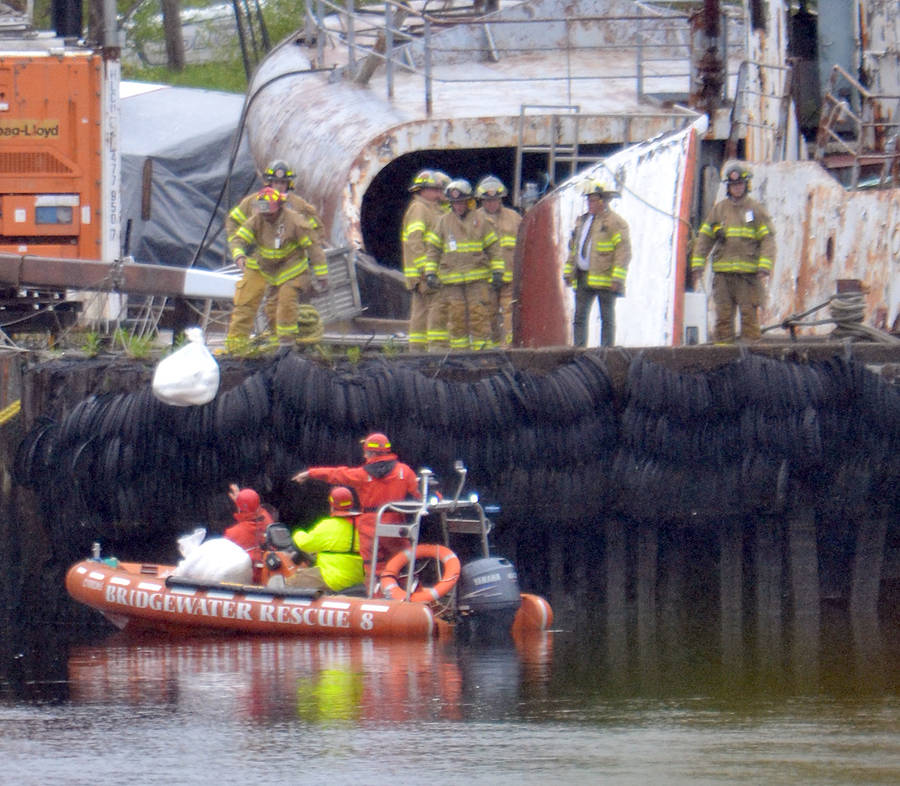<p>KEITH CORCORAN, PHOTO</p><p>Emergency crews at Bridgewater&#8217;s former government wharf on Thursday.</p>