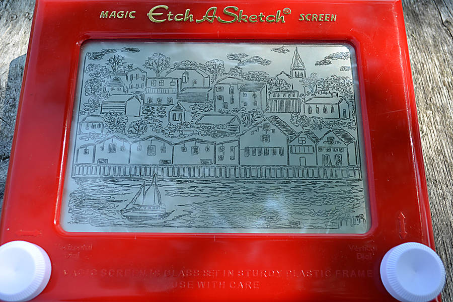<p>GAYLE WILSON PHOTO</p><p>Megs Murray&#8217;s Etch A Sketch drawing of the Lunenburg waterfront has garnered more than 3,000 <em>likes</em> on Facebook.</p>