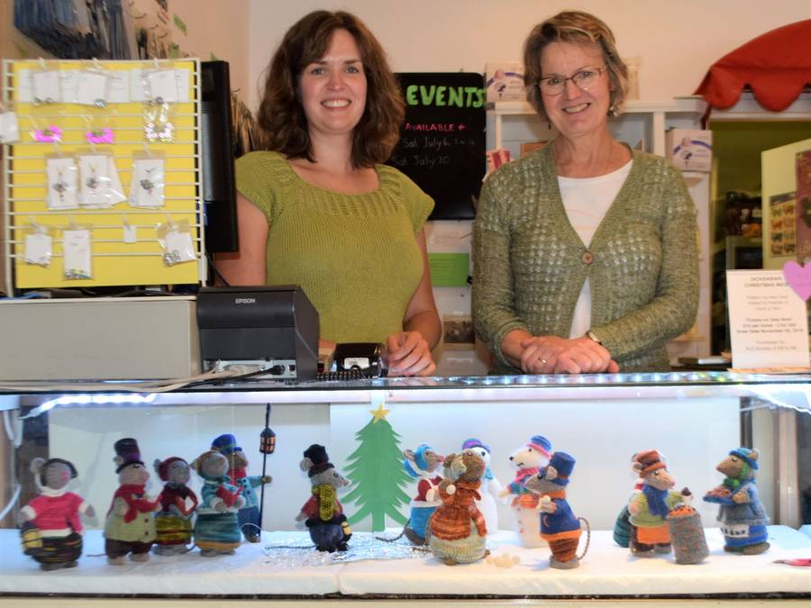 <p>KEVIN MCBAIN PHOTO</p><p>Have a Yarn employee Angela Churchill (left) and store owner Heather Tunnah, stand behind a display of Dickensian mice that have been knitted by Tunnah and a team of volunteers. The shop is selling tickets on the display with all funds going to the New Brunswick and Nova Scotia ALS Society, in honour of fellow knitter, Charlene Scott who was diagnosed with the disease last December.</p>