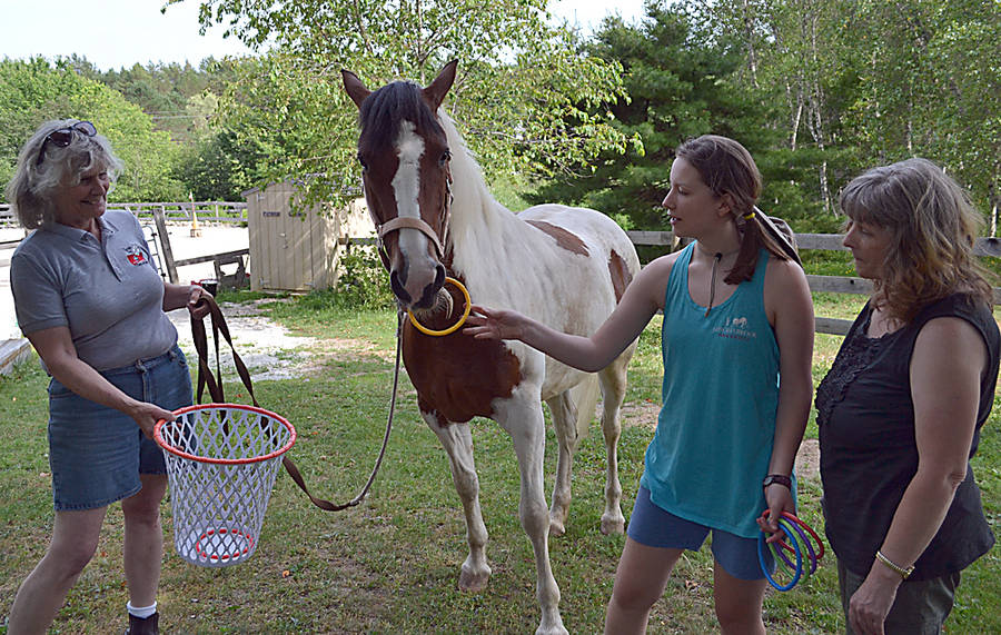 <p>GAYLE WILSON PHOTO</p><p>Jazz the horse takes a ring from student worker Jaime Collicutt and drops it in the basket being held by Patricia McGill, while Jaime&#8217;s mother, Carolyn Collicutt looks on.</p>