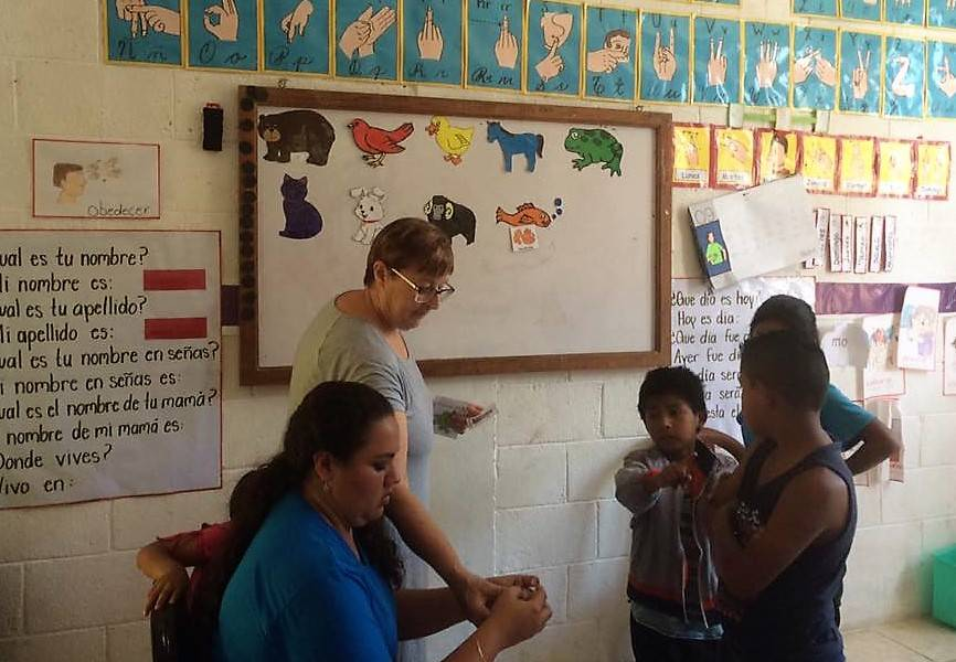 <p>CONTRIBUTED PHOTO</p><p>Karen MacKenzie-Stepner of Chester is a team leader of the Deaf Schools Teacher Training Project since 2012. MacKenzie-Stepner is shown here in a recent workshop in Guatemala.</p>