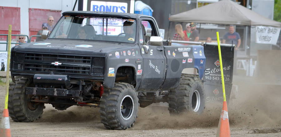 <p>A competitor in the truck pull at the 2019 South Shore in Motion festival in Bridgewater.</p>