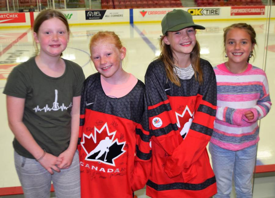 <p>KEVIN MCBAIN PHOTO</p><p>Happy fans. From left to right, Evelyn Smith, Billie Kent, Anna Shand and Atlee Arnmar.</p>