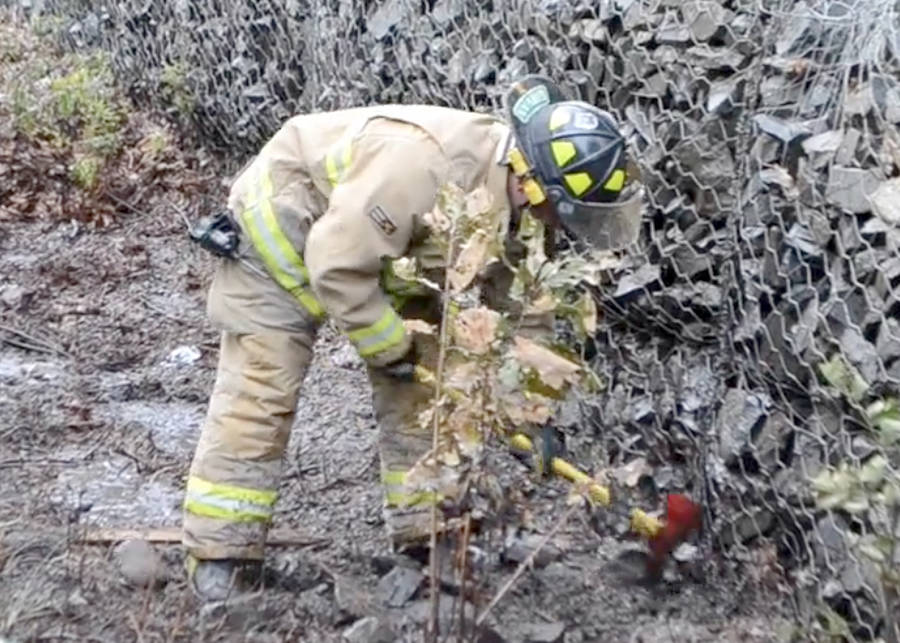 <p>KEITH CORCORAN, PHOTO</p><p>A volunteer firefighter works the scene of a grass fire in Newcombville.</p>