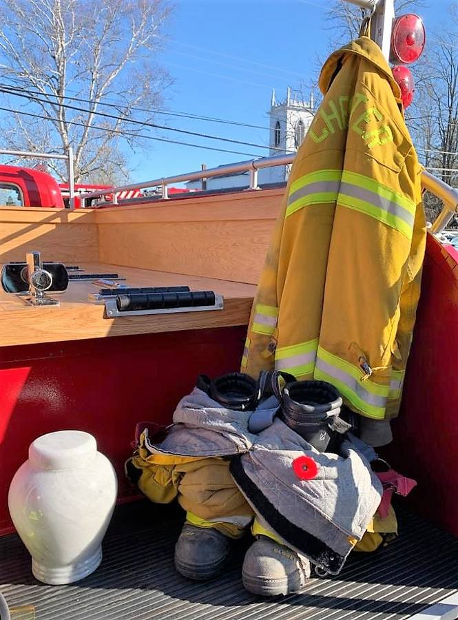 <p>CONTRIBUTED PHOTO</p><p>Grant Payne, former firefighter in Chester, died of cancer November 4. His funeral was November 9 and included a procession of fire trucks. His ashes and gear rode on the back on the department&#8217;s antique truck.</p>
