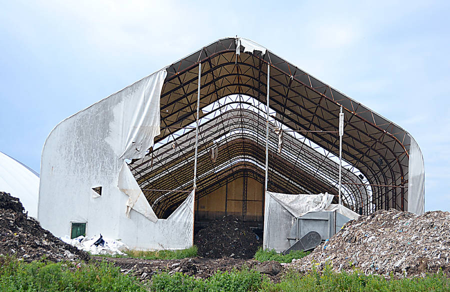 <p>FILE PHOTO</p><p>Damaged processing structure for Class A compost material awaiting replacement at the Lunenburg Community Recycling Centre.</p>