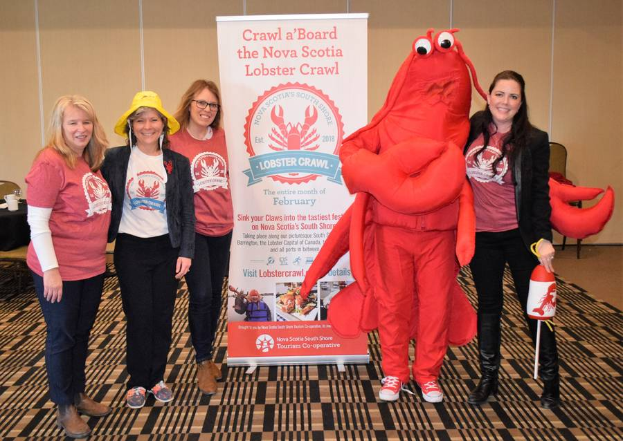 <p>KEVIN MCBAIN PHOTO</p><p>The third annual Nova Scotia Lobster Crawl will take place during the month of February. Some of the organizing team is shown here, from right to left, Stephanie Miller-Vincent, Donna Hatt, Suzy Atwood, Lucy the Lobster&#8217;s cousin from Peggy&#8217;s Cove, and Menna Riley.</p>