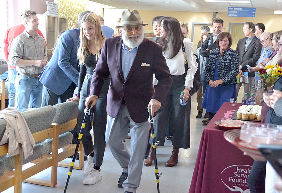 <p>FILE PHOTO</p><p>Philanthropist Stephen Sanders attended a ceremony last October at the South Shore Regional Hospital in Bridgewater to officially open the new MIS suite he and his family helped pay for.</p>