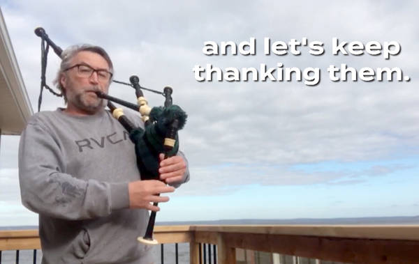 <p>A screen grab of a segment showing Chester-St. Margaret&#8217;s MLA Hugh MacKay playing bagpipes in a Canada Together promotion aired by Corus Entertainment.</p>