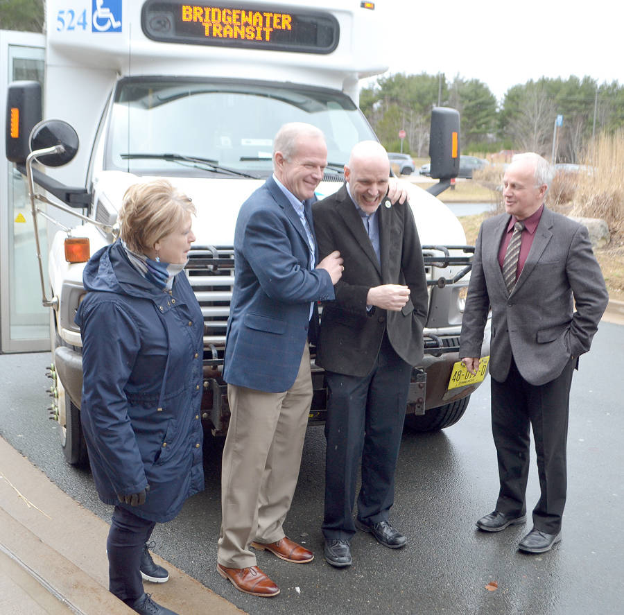 <p>FILE PHOTO</p><p>Bridgewater Mayor David Mitchell, second from right, among provincial politicians during a transit-related announcement in 2019.</p>