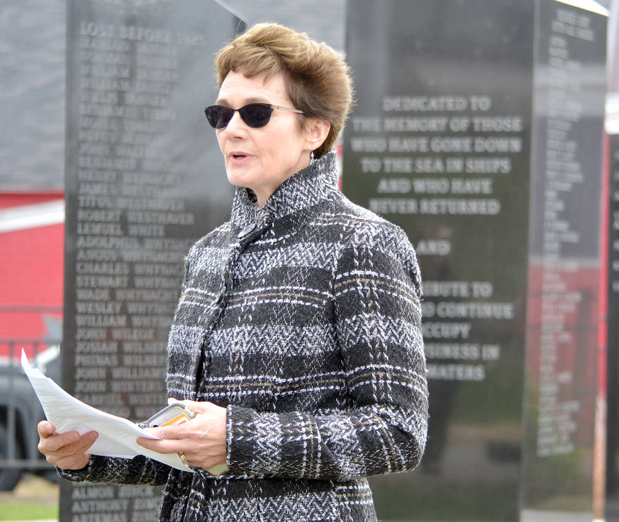 <p>FILE PHOTO</p><p>Lunenburg Mayor Rachel Bailey speaks during a Day of Mourning service in her town in 2019.</p>