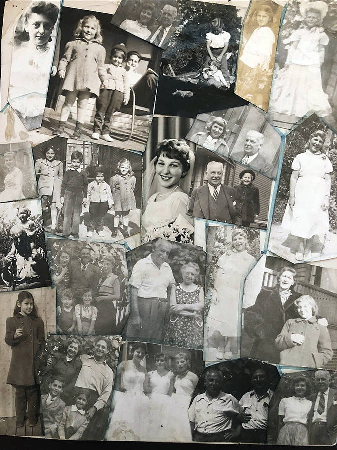 <p>JENNIFER BROWDY, PHOTO</p><p>A collage of Jennifer Browdy&#8217;s maternal family, which she made as a child.</p>