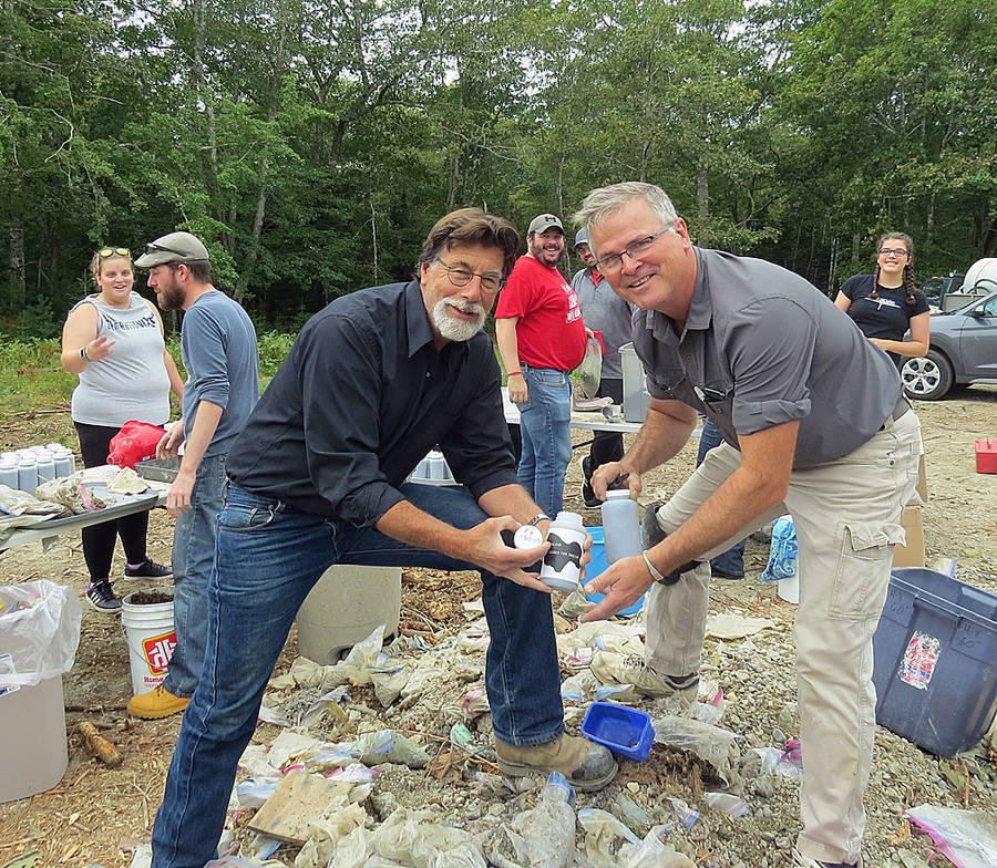<p>ALISON CLEMENTS, PHOTO</p><p>Lead treasure hunter Rick Lagina (left) and geologist Terry Matheson from the hugely popular program The Curse of Oak Island. The two are involved in a second auction of treasure hunt core samples as a charity fundraiser. See story Page 8.</p>