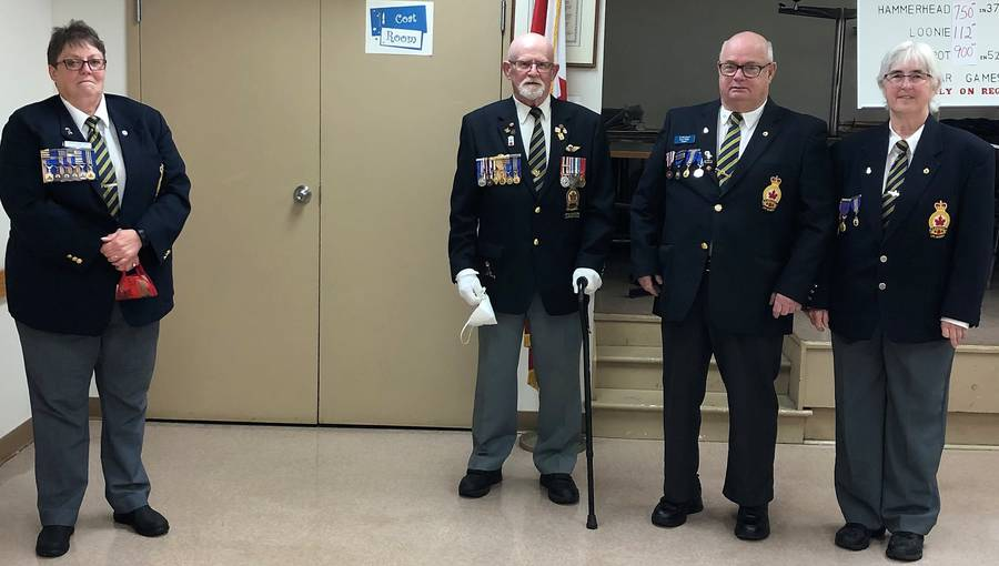 "<p class=""x_MsoNormal"">CONTRIBUTED PHOTO</p><p class=""x_MsoNormal"">Three members of the Royal Canadian Legion Mersey Branch #38 earned Palm Leaf Awards recently. Shown here from left to right: Marion Fryday-Cook, president of Nova Scotia/Nunavut Command; and award recipients Murray Crouse, Larry Weagle and Joan Weagle.</p>"