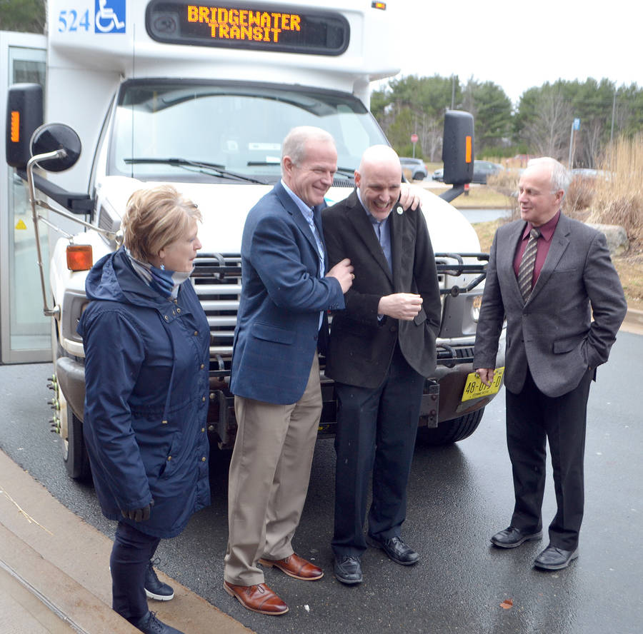 <p>FILE PHOTO</p><p>Happier times. Lunenburg West MLA Mark Furey, second from left, with Bridgewater Mayor David Mitchell, as Communities, Culture and Heritage Minister Leo Glavine, right, and Lunenburg MLA Suzanne Lohnes-Croft looked on in April, 2019. The province had announced funding for a new Bridgewater Transit bus during a news conference at the Lunenburg County Lifestyle Centre in Bridgewater.</p>