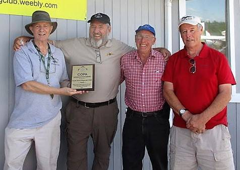 <p>CONTRIBUTED PHOTO</p><p>On hand for the preseentation of the COPA plaque to the SSFC were, from left to right: David Oickle, secretary/treasurer; Brian Pound, former COPA Maritime Director; Barry Mercer, club board member; and Peter Gow, vice-president of the club.</p>