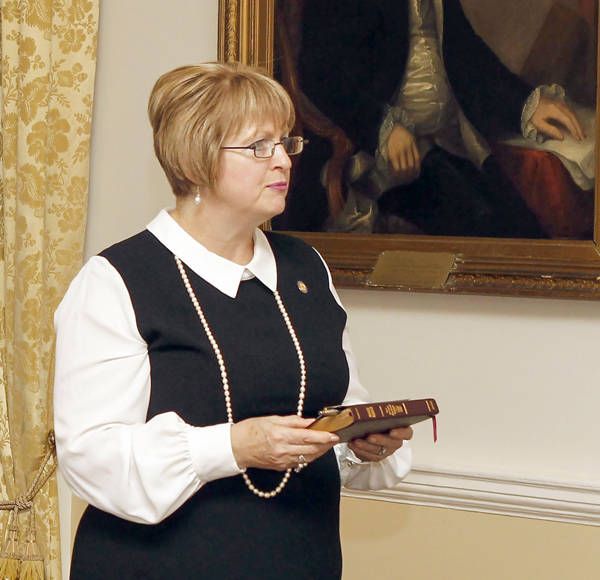 <p>FACEBOOK/STEPHEN MCNEIL</p><p>Suzanne Lohnes-Croft, pictured October 13 as she is sworn into cabinet. The Lunenburg MLA is minister of Communities, Culture and Heritage and off Gaelic Affairs.</p>