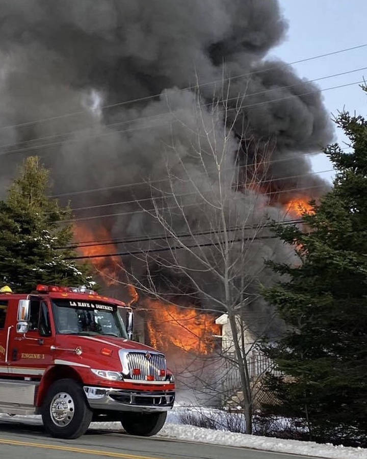 <p>SOURCE: FACEBOOK/ DAHL DISPATCH</p><p>An image shared on social media of the structure fire off Highway 331 near LaHave.</p>
