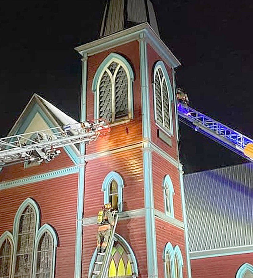 <p>SOURCE: FACEBOOK/CANDICE DARES/RIVERPORT AND DISTRICT FIRE DEPARTMENT</p><p>Fire crews examine St. Mark&#8217;s Place in Middle LaHave where a fire broke out March 26.</p>