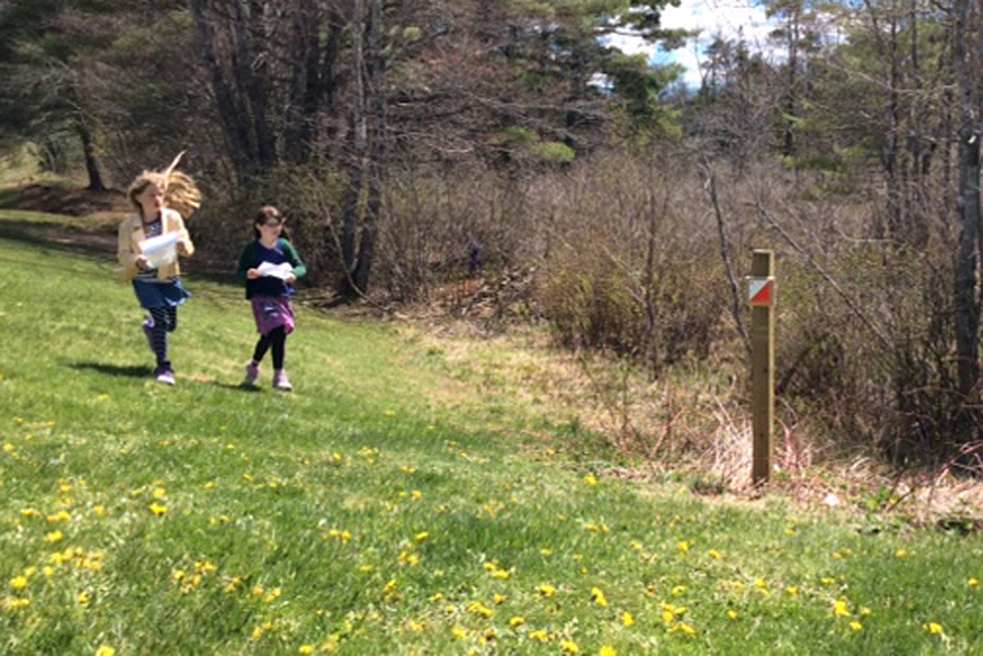<p>CONTRIBUTED PHOTO</p><p>Ruby Harris and Evie Hall make their way toward a control marker during the World Orienteering event.</p>