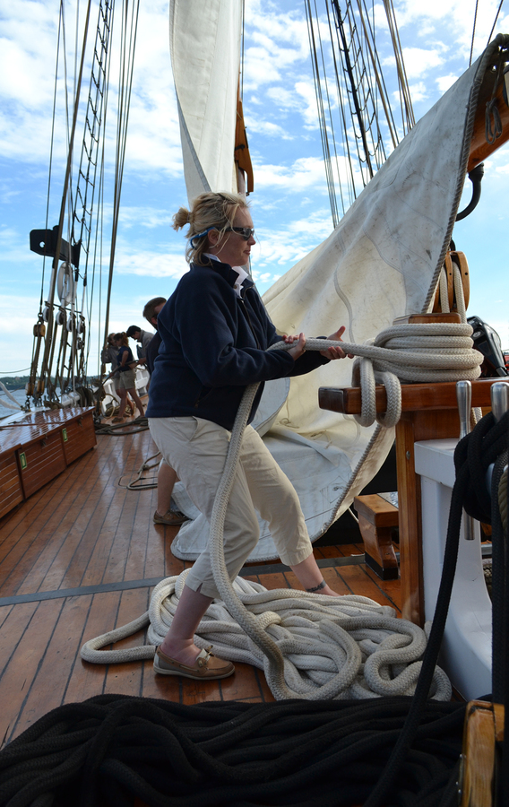 <p>EMMA SMITH PHOTO</p><p>Crew member Hannah Joudrey takes down the sail on the way back to Lunenburg.</p>