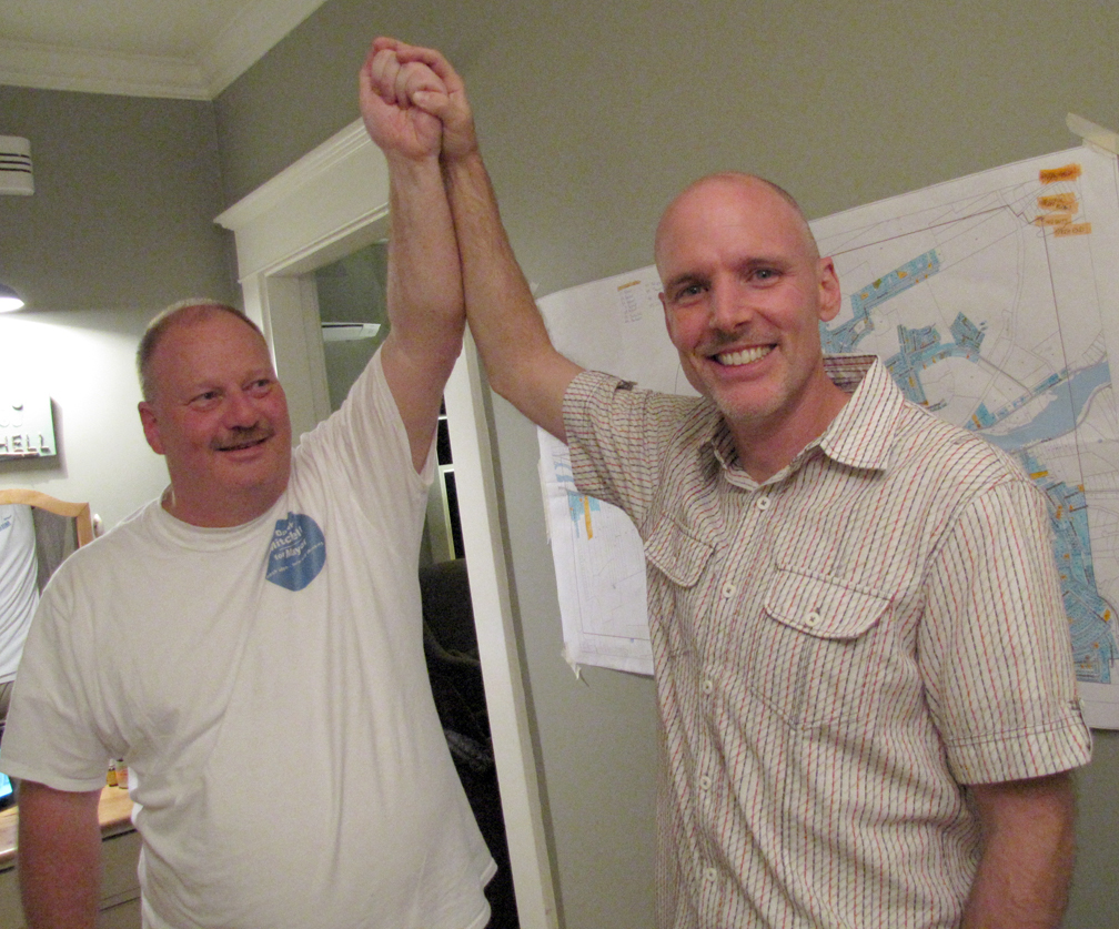 <p>KEITH CORCORAN PHOTO</p><p>Bridgewater mayor-elect David Mitchell, right, celebrates victory with Mark Eisner, who worked on his campaign.</p>