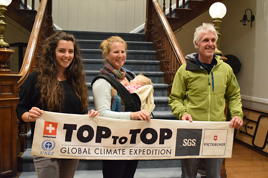 <p>MICHAEL LEE PHOTO</p><p>From left, Haligonian Amanda Shannon with Swiss couple Sabine and Dario Schwörer. The Schwörers have spent the past 16 years sailing the world with their five children — their oldest is 11 and their youngest 10-months old — climbing the world's tallest peaks and speaking at schools about climate change and the environment.</p>