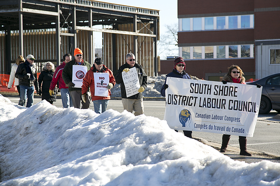 <p>BRITTANY WENTZELL PHOTO</p><p>Supporters walk around North Street in support of Chronicle Herald workers who have been off the job for a year.</p>