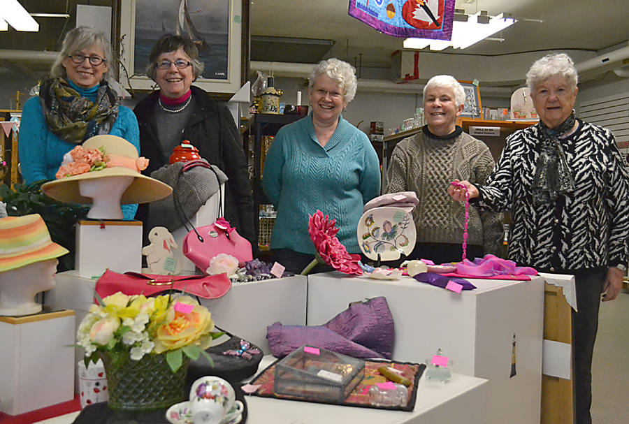 <p>GAYLE WILSON PHOTO</p><p>Cheryl Lamerson (centre) with volunteers at the Lunenburg Community Consignment store on Pelham Street. Also pictured, Faune Creaser, Sue Kelly, Susan MacMillan and Hazel Oliver.</p>