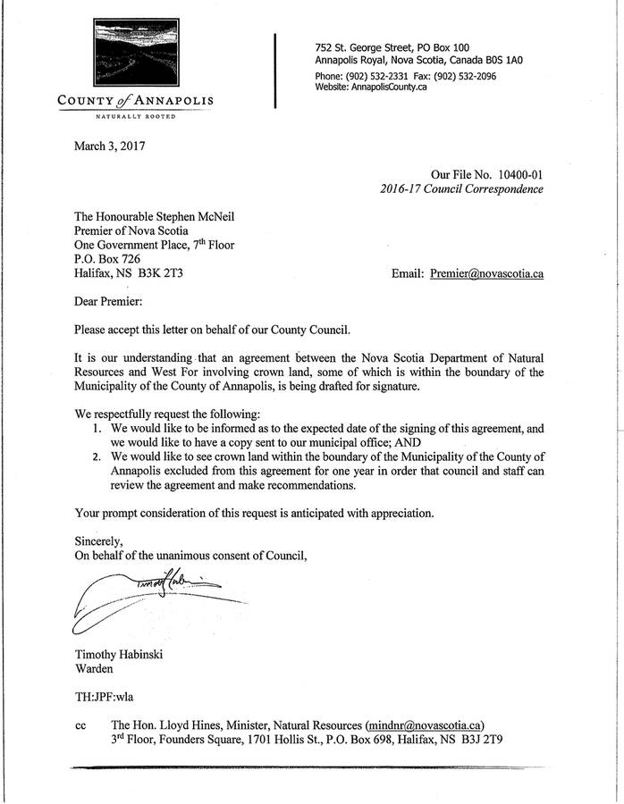 <p>CONTRIBUTED PHOTO</p><p>A letter from the Municipality of the County of Annapolis, sent on March 3, asks the province to exempt county Crown lands in a licence agreement with WestFor until it can review the agreement.</p>