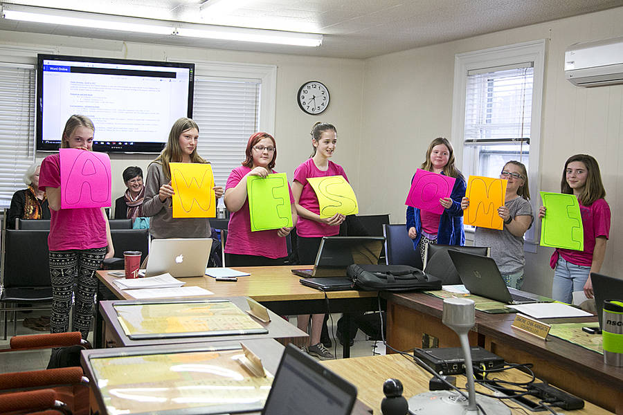 <p>BRITTANY WENTZELL PHOTO</p><p>Katherine Kelley, Olivia Hiltz, Abigail Maguire, Bridget Veinotte, Lily Lambert, Haley Bruhm and Hannah Allen, members of St. James Church Girls, gave a presentation to Mahone Bay council on April 12. Amy McCharles, not pictured, was taking a video.</p>