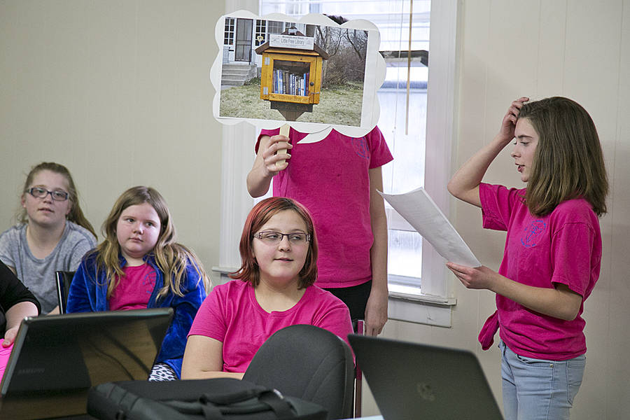 <p>BRITTANY WENTZELL PHOTO</p><p>Haley Bruhm, Lily Lambert, Abigail Maguire, Hannah Allen, and Bridget Veinotte during their elaborate presentation to council.</p>