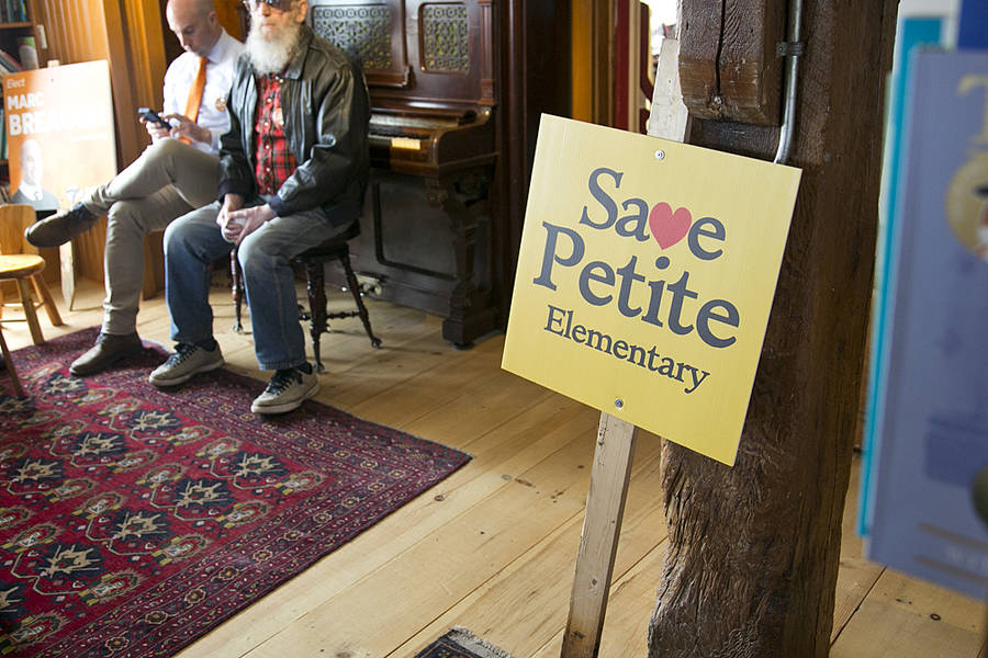 <p>BRITTANY WENTZELL PHOTO</p><p>Parents from Petite Riviere and Pentz elementary schools crowded into the bookstore at the Lahave Bakery to hear Burrill's announcement on May 11.</p>