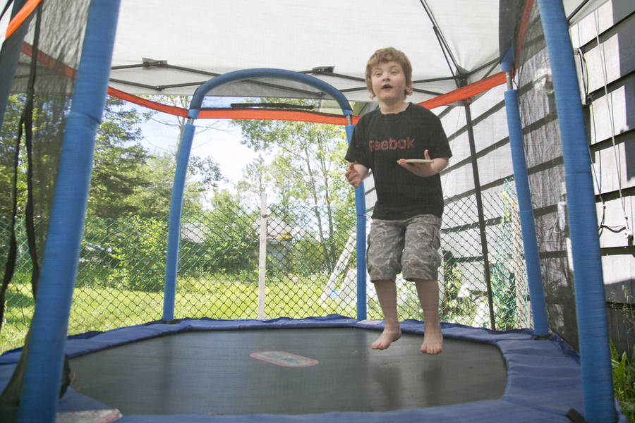 <p>BRITTANY WENTZELL PHOTO</p><p>Five-year-old Bradley Hilts takes a bounce on a mini-trampoline in his yard. The Pentz Elementary student recently went missing during a school day and two good Samaritans stopped to help.</p>
