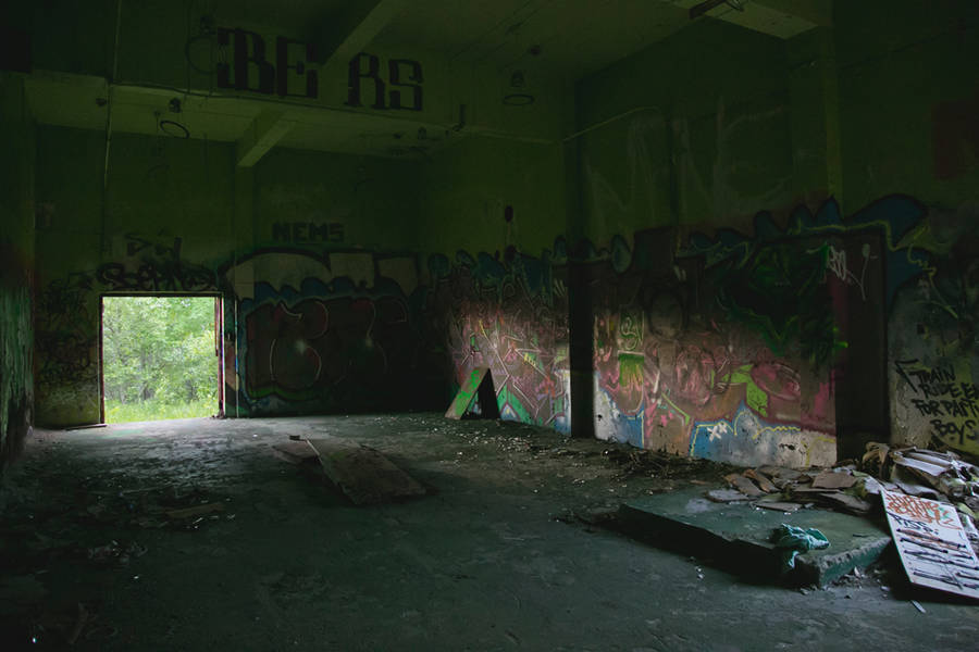 <p>BRITTANY WENTZELL PHOTO</p><p>Evening light spills into one of the more intact rooms of the station. Graffiti almost covers the entire building, some even in hard to reach places.</p>