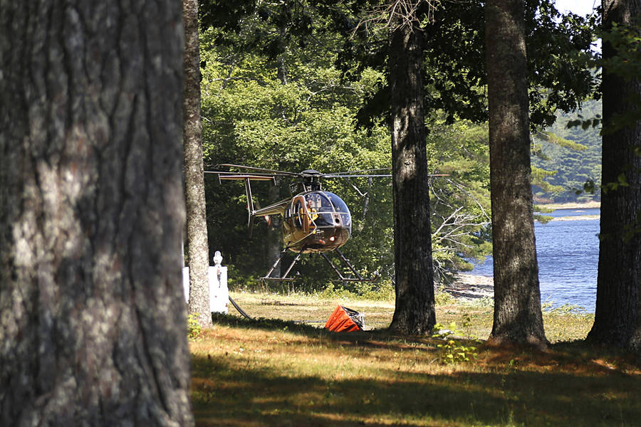 <p>BRITTANY WENTZELL PHOTO</p><p>A helicopter seen at McGowan Lake in August 2016 during the Nova Scotia wildfires. The Department of Natural Resources will send a 21-person crew to help fight the forest fires in British Columbia.</p>