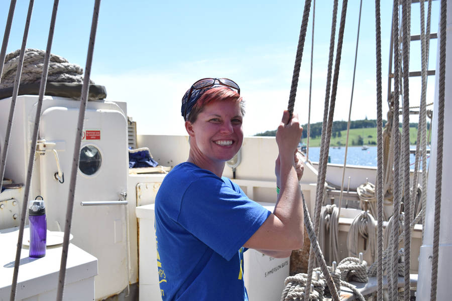 <p>MICHAEL LEE PHOTO</p><p>Jennifer Smither from Columbus, Ohio, on board the <em>Lord Nelson</em>.</p>