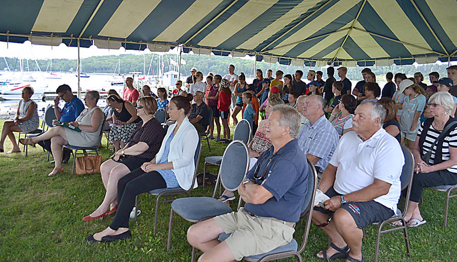 <p>GAYLE WILSON PHOTO</p><p>Those listening to the ACOA funding announcement at the LYC included sailing officials, club members and sailing students.</p>