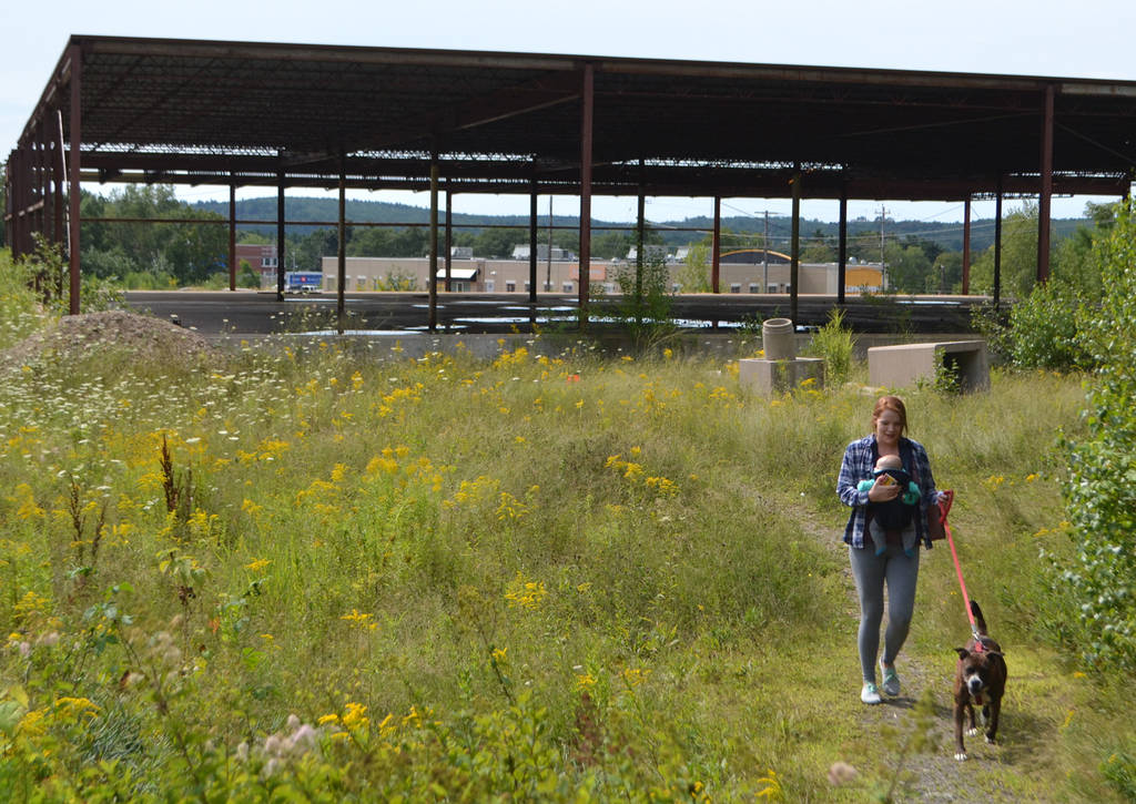 <p>KEITH CORCORAN PHOTO</p><p>Kayla Knickle carries her son Jonah and navigates her pet pooch along a trail August 15 through the former South Shore Mall property in Bridgewater.</p>