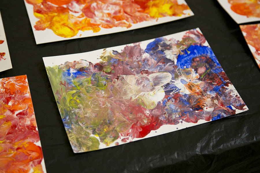 <p>BRITTANY WENTZELL PHOTO</p><p>On August 16, the residents are creating artwork using acrylic paint and spoons.</p>