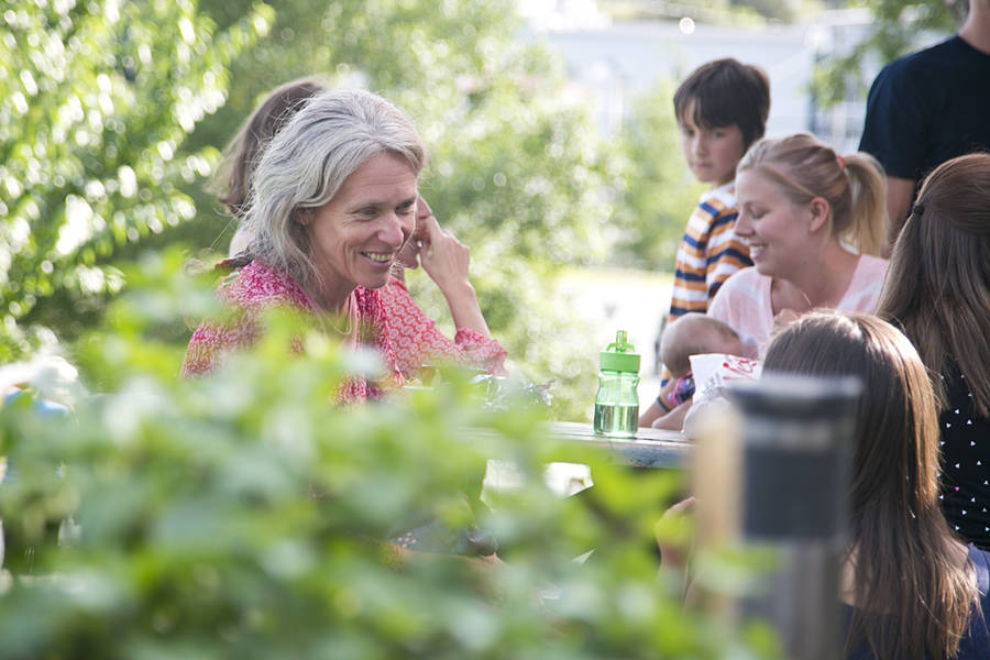 <p>BRITTANY WENTZELL PHOTO</p><p>Maren Dietze enjoys some time with former patients at Hodge Podge Community Garden.</p>